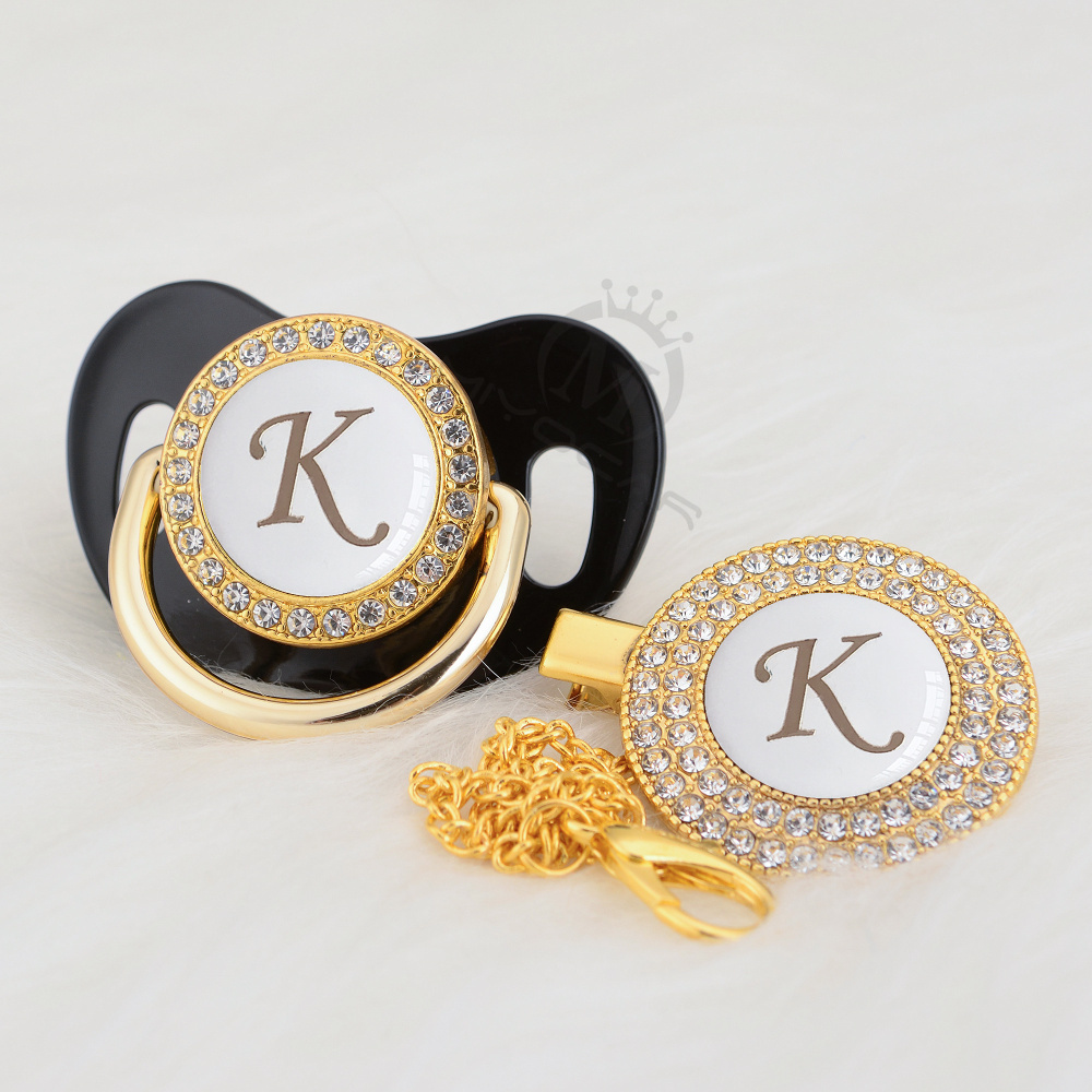 MIYOCAR Bling White Name Initials Letter K Pacifier And Pacifier Clip Set BPA Free Safe Lovely Bling Gold Pacifier Dummy LK-W