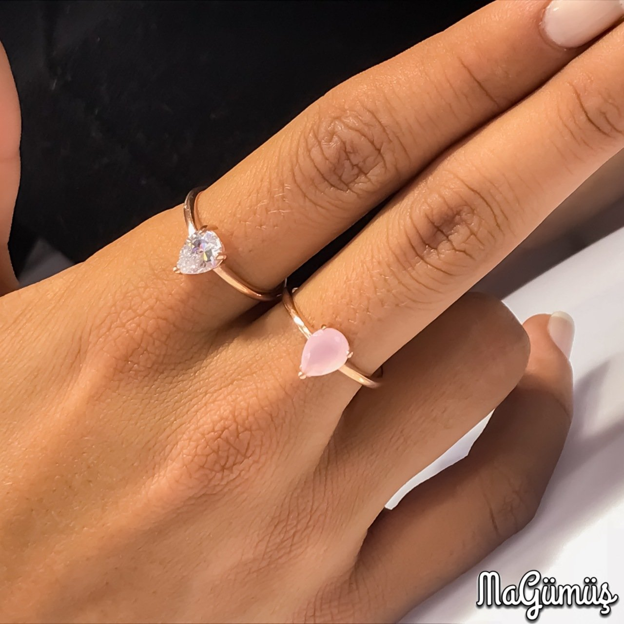 Minik pink and crystal quartz seçenekli gümüş ring()
