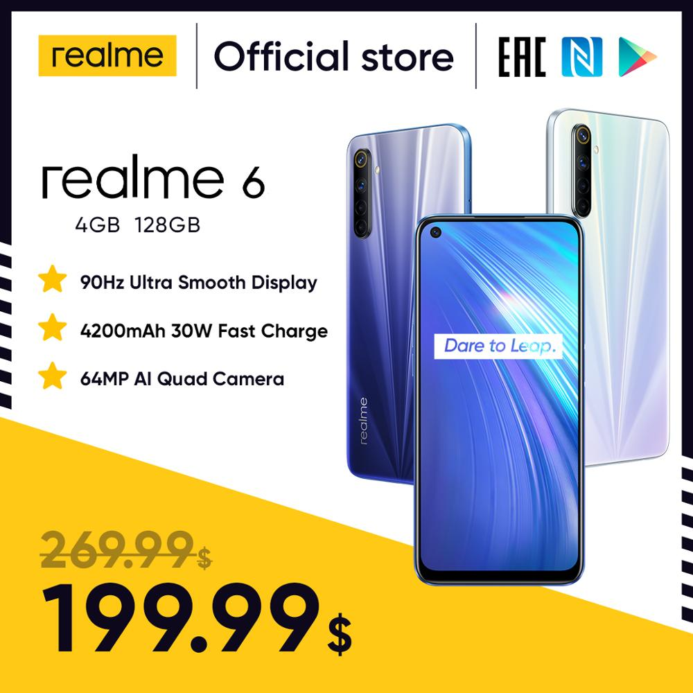 realme 6 NFC Global Version 4GB 128GB Mobile Phone 90Hz Display Helio G90T 30W Flash Charge 64MP Cam(China)