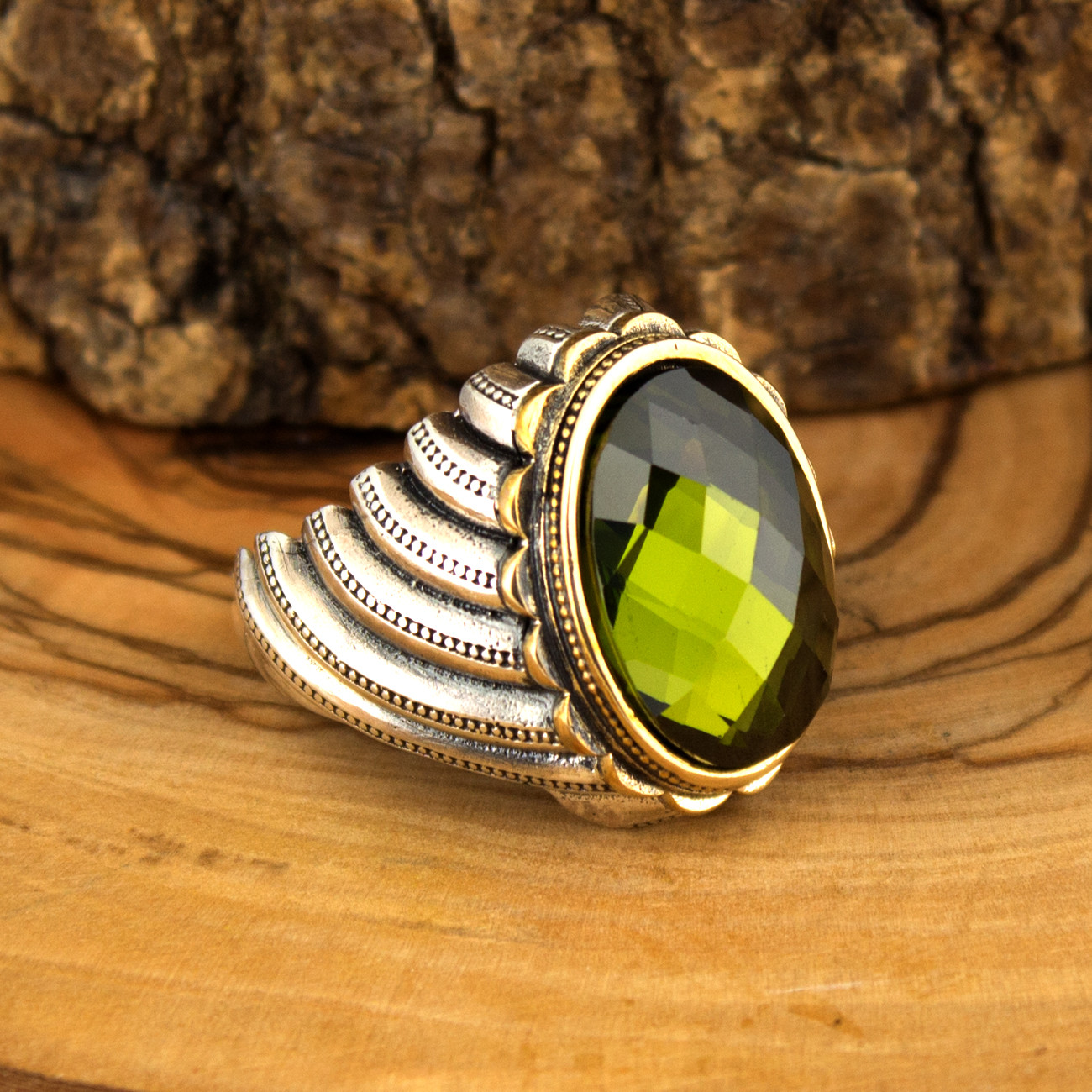 925 Sterling Silver Ring For Men With Yellow Zircon Stone (Made In Turkey)