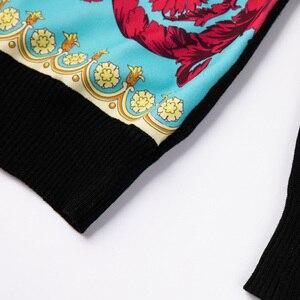Image 2 - ถักผู้หญิงแฟชั่นผู้หญิงแขนยาว Elegant Floral พิมพ์เสื้อสบายๆสุภาพสตรีเสื้อขนสัตว์ด้านบนสไตล์หวานเสื้อกันหนาว