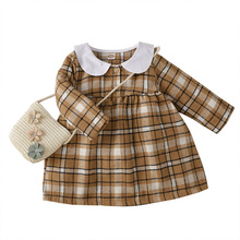 Autumn Winter Girls Princess Dress Infant Clothing Mini Toddler Dresses Warm Baby Girl Clothes Plaid Dress Casual Baby Dress
