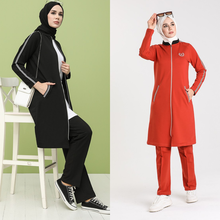 Tracksuit Turkey Muslim 2piece-Bottom Arabia Fashion Women's in Trend Headscarf Top-Sport