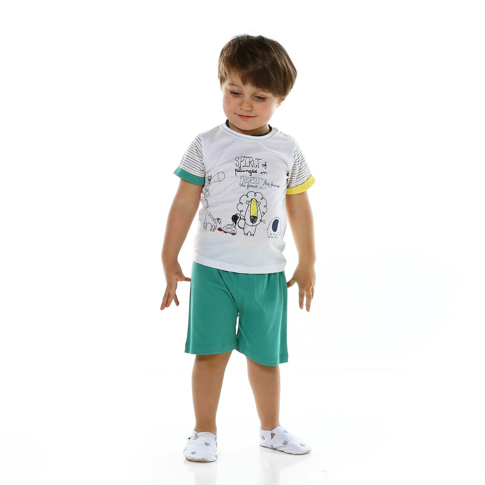 Ebebek HelloBaby Baby Boy Safari Theme Short Tshirt Set