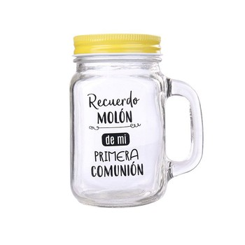 Lot 20 jars glass with Cane souvenir Molón 1ª Yellow Communion in Cash Box-Details and gifts for weddings, communions