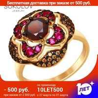 SOKOLOV Ring gilded mit silber granat und gelb und rot fianitami mode schmuck 925 frauen der männlichen