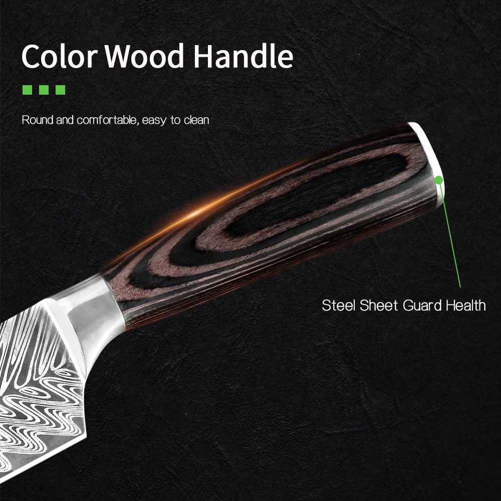 QING mutfak şefin bıçak Ultra keskin kesme Cleaver alman karbon çelik bıçaklar aracı ergonomik saplı ev restoran için