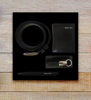 Personalized Genuine Leather Wallet Key Chain Belt Pen Gift Set