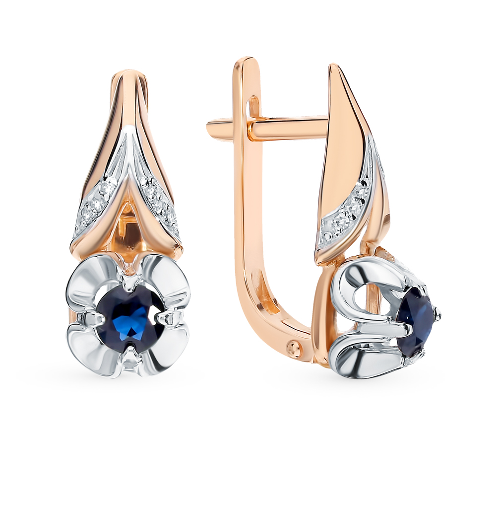 Gold Earrings With Sapphires And Diamonds Sunlight Sample 585