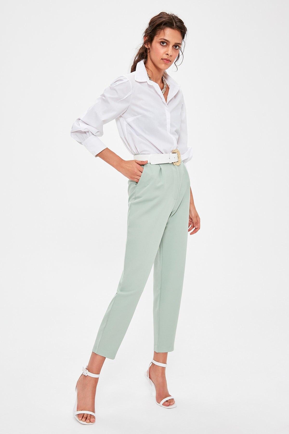 Trendyol Mint High Bel Pants TWOAW20PL0172