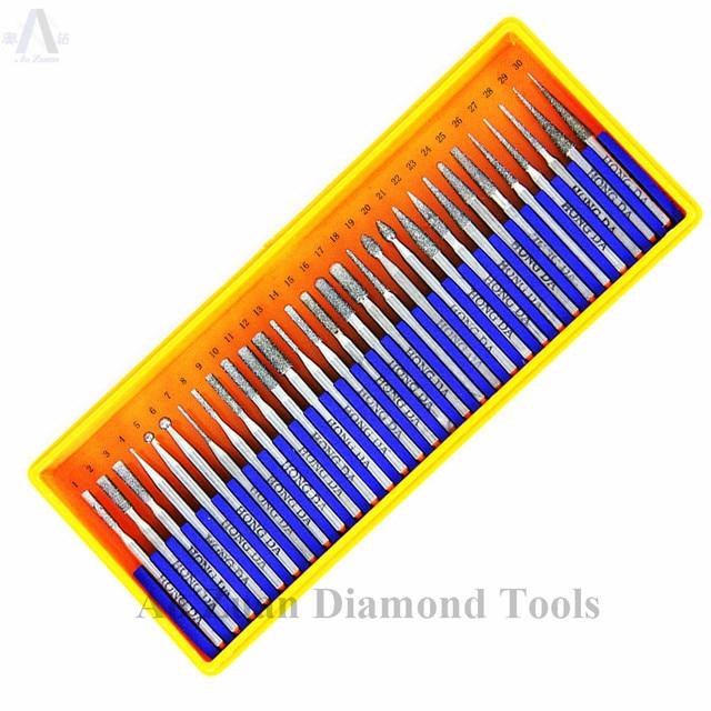 30 ชิ้น/เซ็ต Shank 2.35mm หรือ 3mm Diamond Bur ชุด Dremel โรตารี่เครื่องมือเจาะชุด Bit