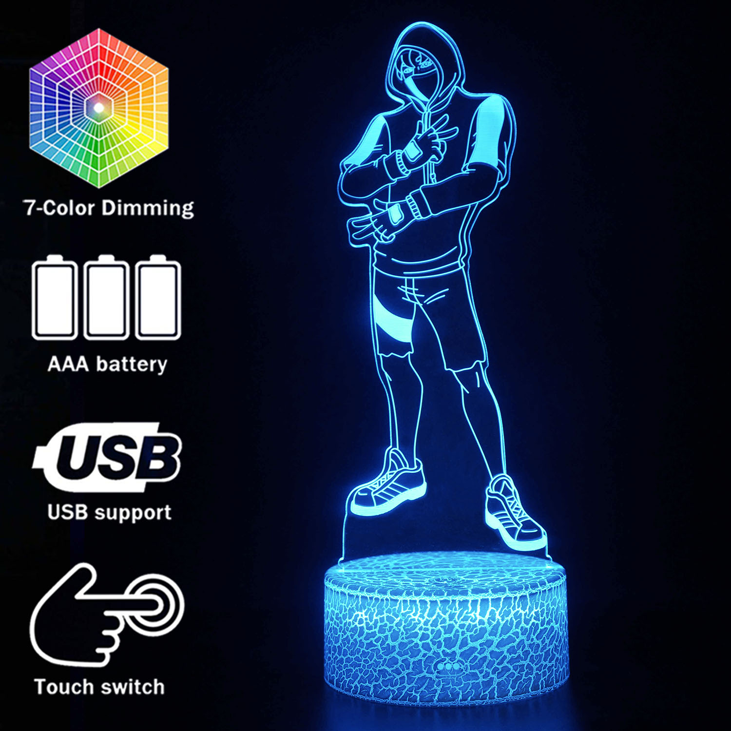 Fortress Night Season 8 Ikonik Skin Model 3D Illusion Lamp Battle Royale Decoration Night Lights  Ikonik Figurine Table Lamps