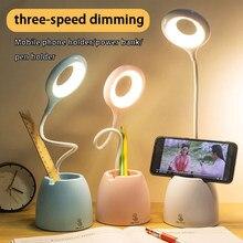 Lampe de Table led tactile USB avec support multifonction, variateur en continu, pour bureau, Protection des yeux, apprentissage