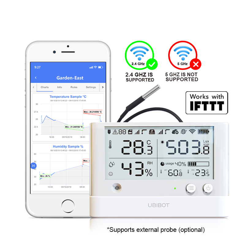 UbiBot Temperature Humidity Monitor Hygrometer Thermometer WiFi  /SIM Data logger Wireless Remote Alerts Cold store  GreenhouseHome  Automation Modules