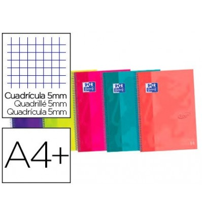 SPIRAL NOTEBOOK OXFORD EBOOK 4 CAP EXTRADURA DIN A5 + 120 H GRID 5 MM ASSORTED COLORS TOUCH 5 Units