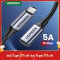 Ugreen USB C удлинитель типа C удлинитель USB-C Thunderbolt 3 для Xiaomi Nintendo переключатель USB 3,1 USB удлинитель