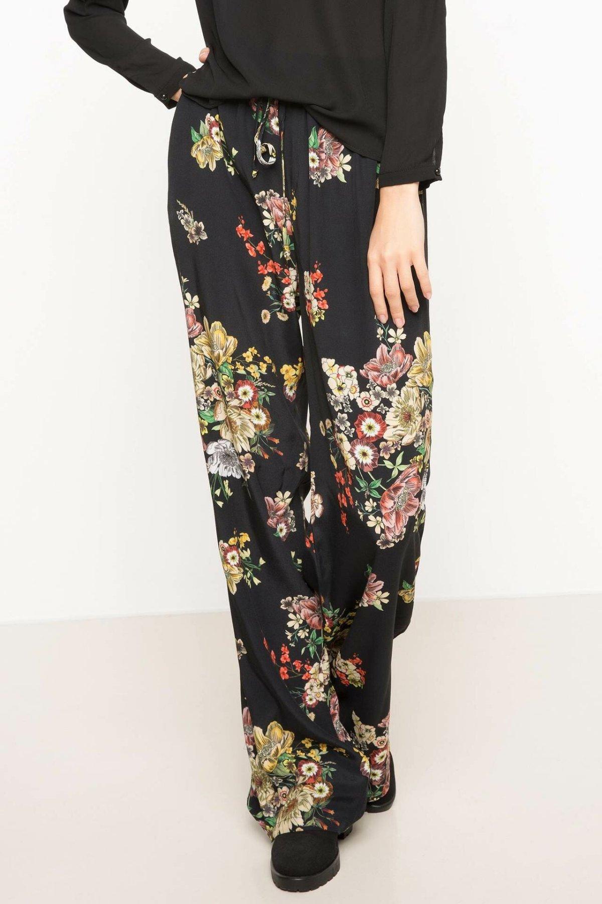 DeFacto Woman Trousers Floral Prints Black Loose Pants Women Casual Wide-leg Bottoms Adjustable High Waist Pants-H7828AZ17AU