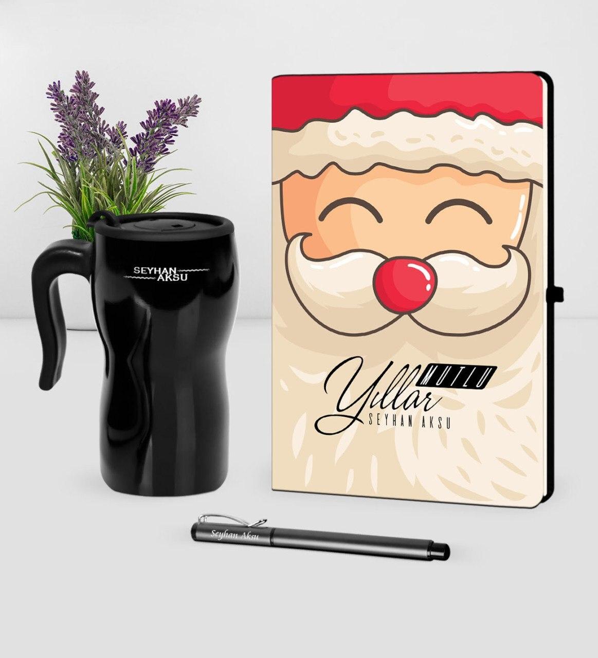 Personalized Christmas Christmas Santa Claus Theme Black Notebook Pen Thermos Mug Set-6