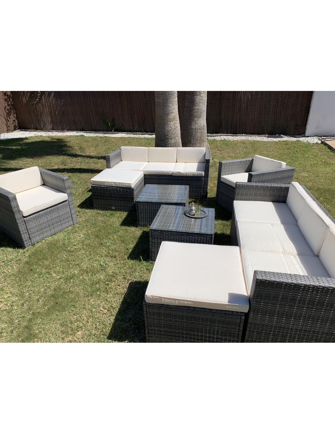 Conjunto De Sofas Terrace. The Angels Deluxe. Include 2 Three Seater Sofa, 2 Armchairs, 2 Stool Seating And 2 Coffee Tables.