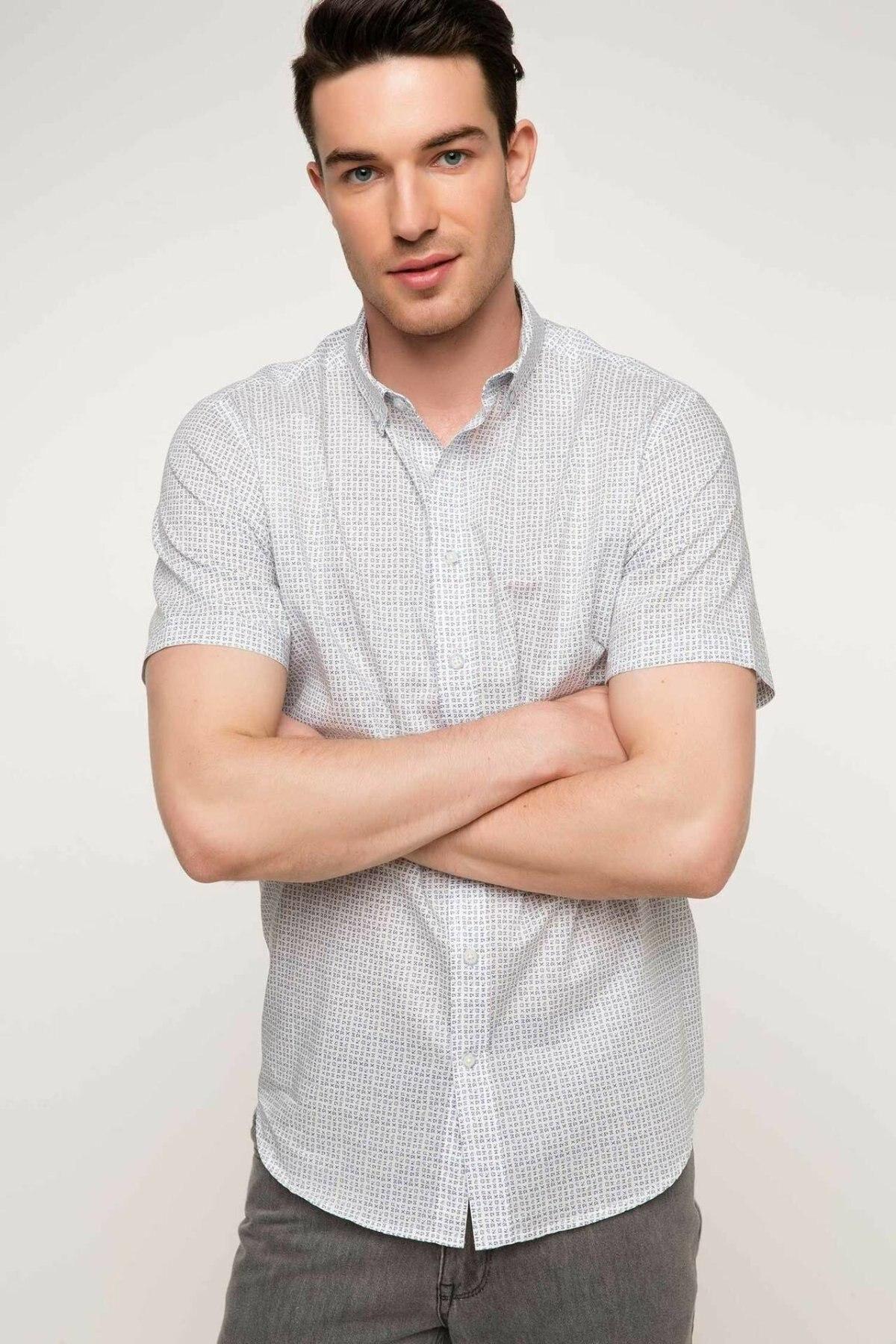 DeFacto Fashion Man Short Sleeve Shirt Male Causal Comfort Print Pattern Tops High Quality Shirts Summer- G7243AZ17SM