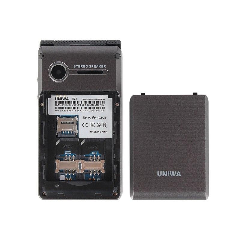 UNIWA X28 Senior Flip phone 2G GSM Dual SIM unlocked mobile phone Dual screen Russian Hebrew Keyboard Clamshell Cell Phone