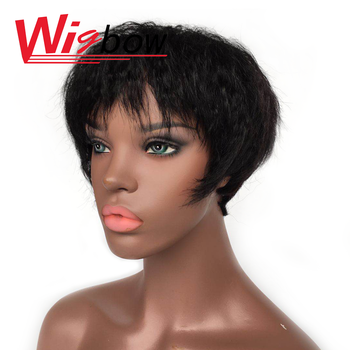 Short Straight Kinky Curly Human Black Hair Wigs Malaysia Hair With Bang Curly Wigs For Women Remy Pixie Cut Wig Human Hair una short malaysia human hair wigs for women sassy curly non remy human hair 120