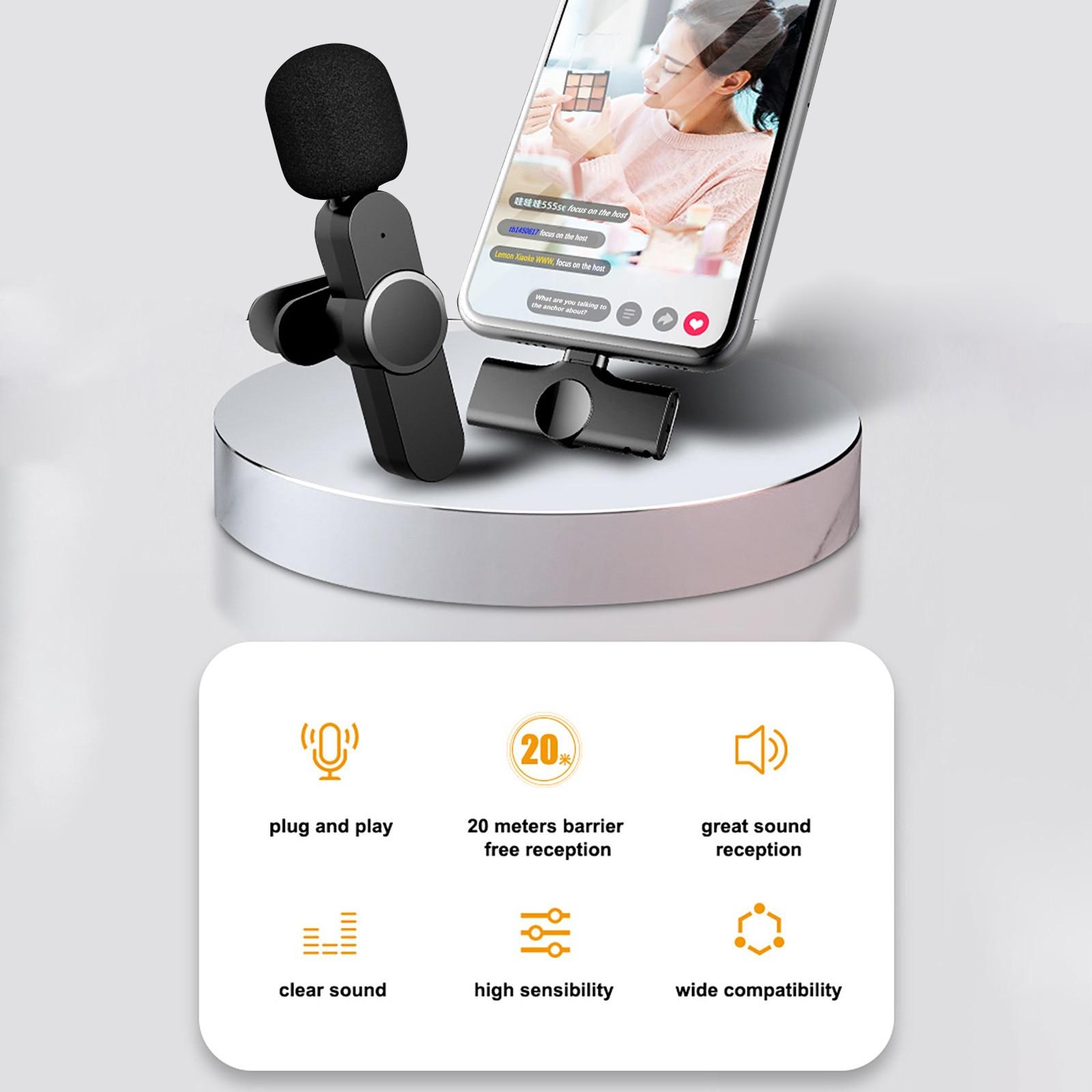 Micrófono Lavalier de solapa inalámbrico para teléfono Android, cámara portátil con ojal externo para IPhone, portátil, Ga