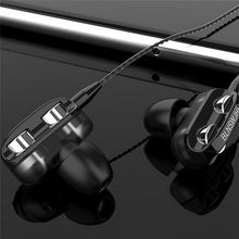 Olhveitra 3.5mm In Ear Earphones Wired Headset Gamer For Computer iPhone Samsung Xiaomi Dual Drive Stereo Sport Earbuds With Mic