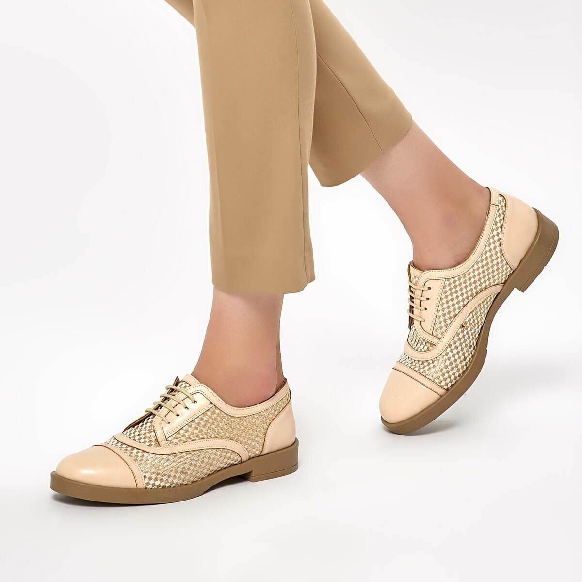 FLO DS19040 Beige Women Oxford Shoes Miss F