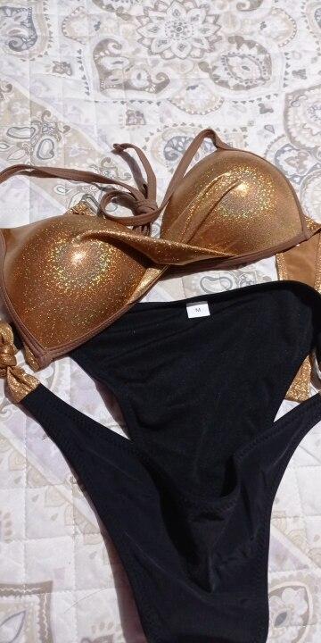 Sexy Bikinis 2021 Halter Swimsuit Solid Swimwear Women Plus Size Shiny Bordered Bikini Set Bathing Suit Push Up Two piece Suit|Bikini Set|   - AliExpress