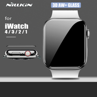 Nillkin para apple iwatch 4 3 2 1 vidro 3d aw + capa completa hd vidro temperado protetor de tela para apple watch 38mm 40mm 42mm 44mm