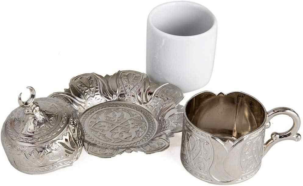 1 個銅オットマントルココーヒーカップセット製トルコアラビアコーヒーセットティーカップセットエスプレッソカップ伝統的なトルコ