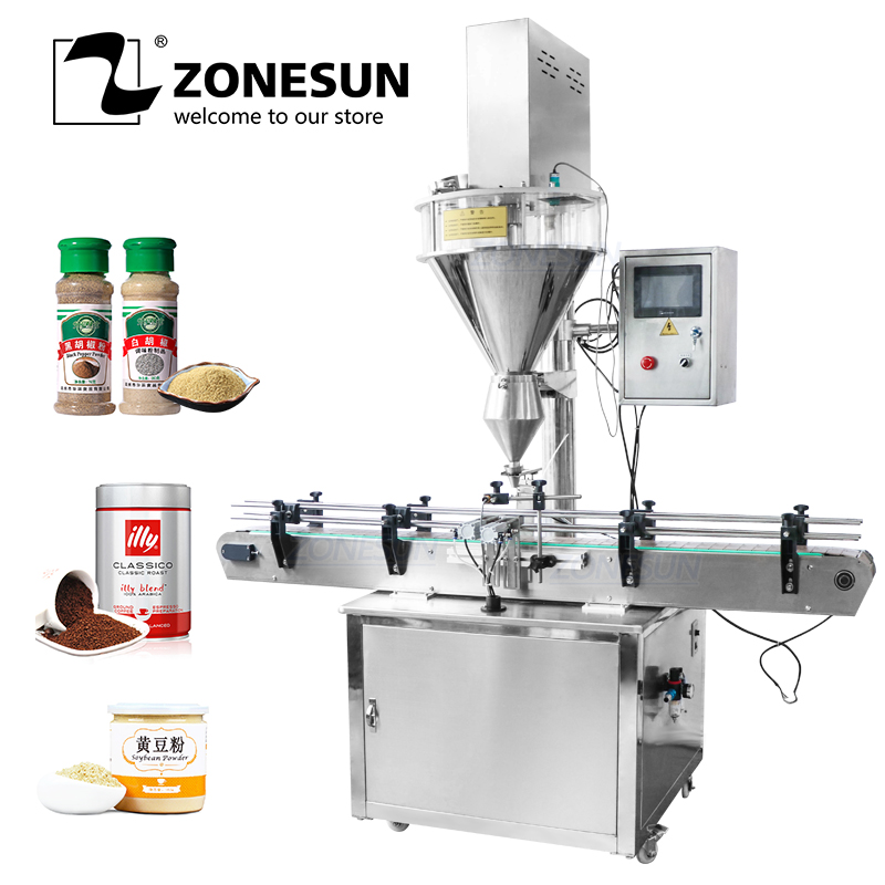 ZONESUN Tin Aluminum Can Auger Cup Automatic Coffer Dry Milk Powder Small Bottle Filling Machines For Food