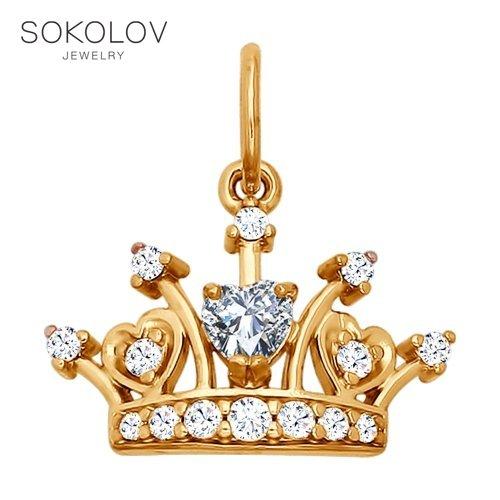 SOKOLOV Pendant Gilded With Silver Fianitami Fashion Jewelry 925 Women's Male, Pendants For Neck Women