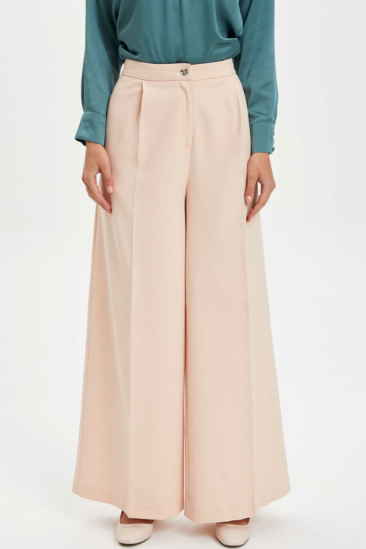 DeFacto Fashion Woman Trousers Casual Solid Straight Loose Pants Mid Waist Leisure Breathable Long Pant Female - M3387AZ19AU