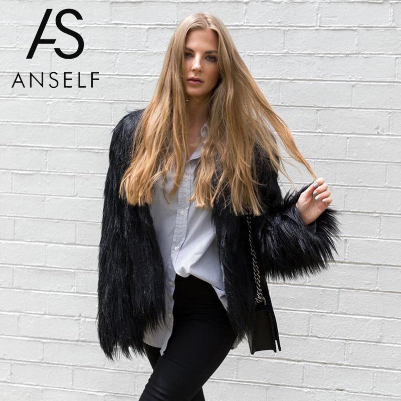 Womens Winter Fluffy Faux Fur Zip Up Coat Jacket Long Sleeve Outwear Overcoat
