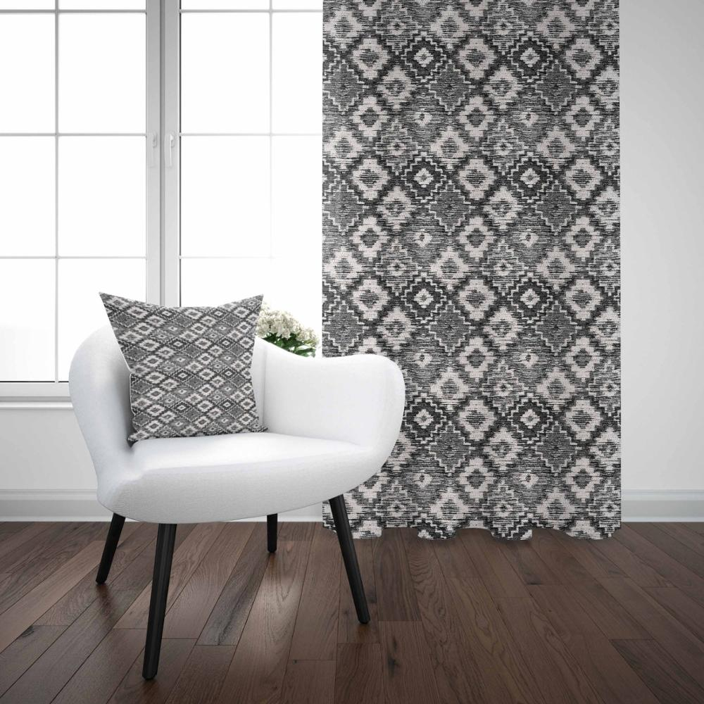 Else Gray White Tiles Geometric Vintage Turkish 3D Print Living Room Bedroom Window Panel Curtain Combine Gift Pillow Case