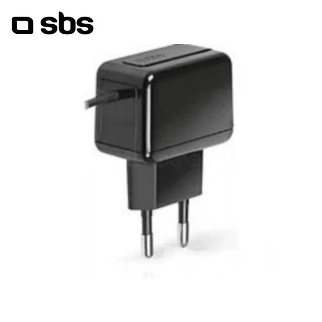 Сетевое зарядное устройство SBS с кабелем microUSB 1А черный (TE