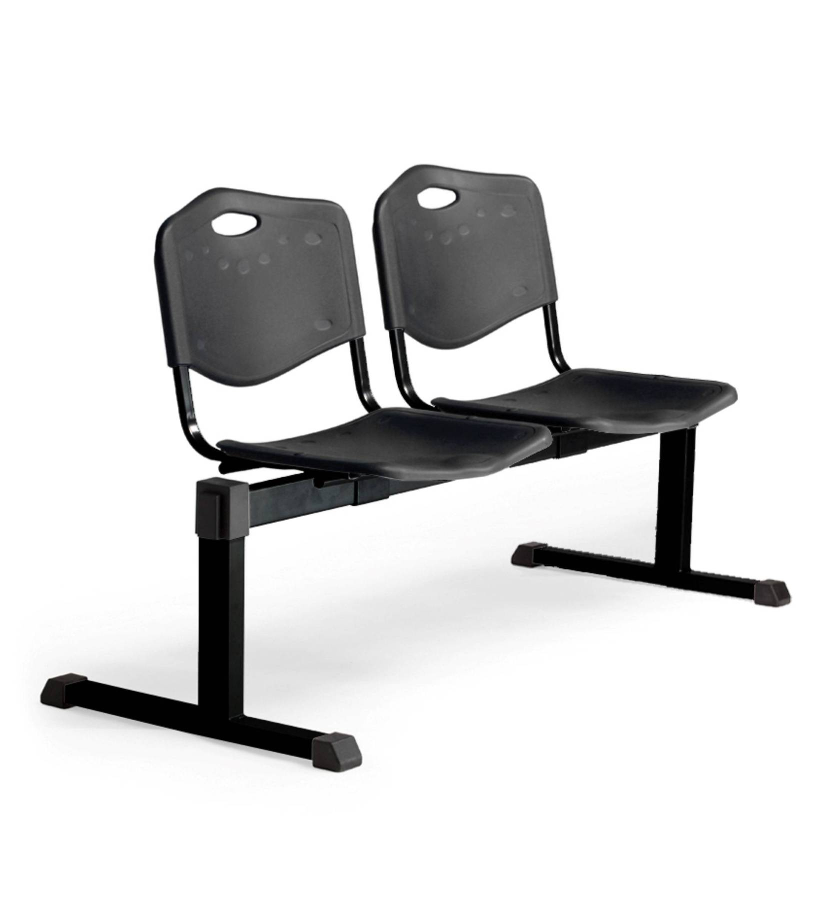 Bench Waiting Two Seater And Iron In Color Black-up Seat And Backstop's Structure In PVC Color Black Taphole And