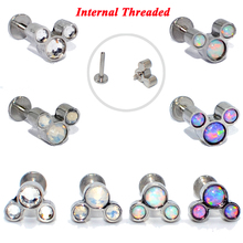 4PCS 16g G23 Titanium&Steel Opal CZ Gem Labret Lip Bar Ring Crystal Ear Cartilage Tragus Helix Screw Fit Top Fashion Jewelry