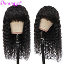 Water Wave Wigs Peruvian Human Hair Wigs With Bangs Cheap Full Machine Made Wig 180% Density 100% Remy Human Hair Wigs Pre pluck(China)