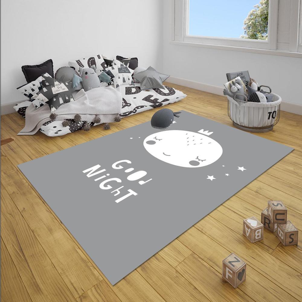 Else Gray White Sleep Good Night Nordec Unisex 3d Print Non Slip Microfiber Children Baby Kids Room Decorative Area Rug Mat
