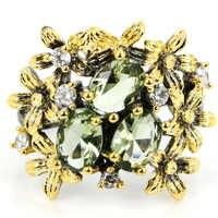 23x20mm Sublime Antike Vintage Stil Erstellt Green Amethyst Tanzanite Geschenk Für frau Silber Ringe