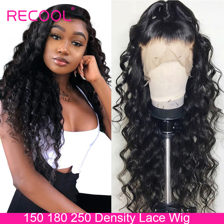 Recool Lace Front Human Hair Wigs Loose Deep Wave Wig 150 180 250 Density 360 Lace Frontal Wig Pre Plucked Human Hair Wig