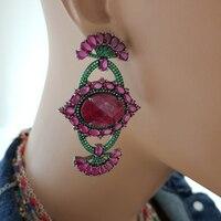 925 Sterling Silver Earrings Claret Red Statement Long Big Boho Cute Dangle Stud Earrings серьги с камнями 925