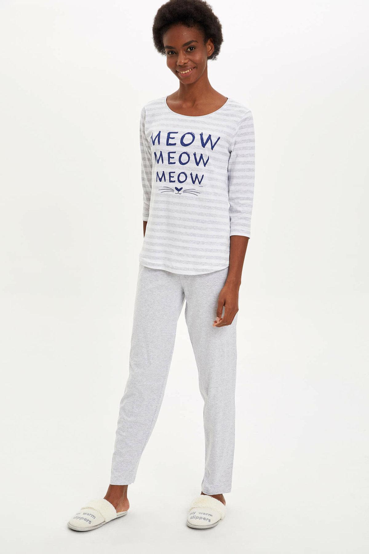 DeFacto Woman Winter Pajamas Set Women White Striped Homewear Set Female Casual Knitted Sets-M8654AZ19WN