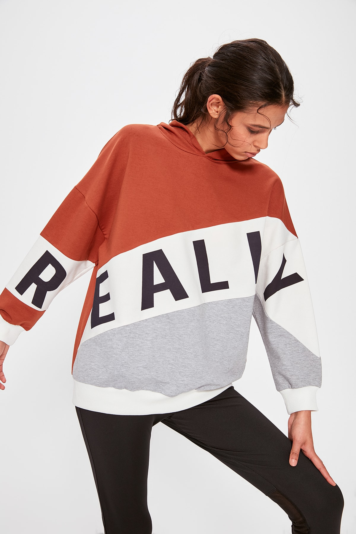 Trendyol With Color Block Printed Sports Sweatshirt TWOAW20SW0447