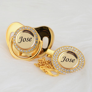 MIYOCAR Personalized any name can make gold bling pacifier and pacifier clip BPA free dummy bling unique design P8(China)