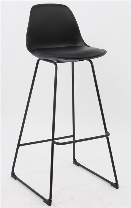 Stool TOWER, Black Epoxy, Casing And Upholstered Black