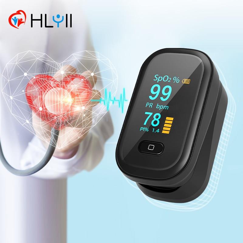 OLED черный Пальчиковый Пульсоксиметр Портативный зажим для пальца и уровня кислорода в крови бытовой SpO2 PR монитор сердечного ритма насыщени...